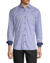 Bertigo - Gradient Square Cotton Button-down Shirt - Lyst