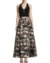 JS Collections - Floral Printed Halter Gown - Lyst