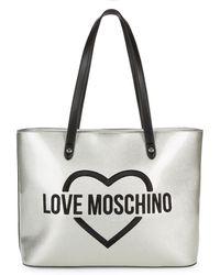 Love Moschino - Argento Metallic Shoulder Bag - Lyst