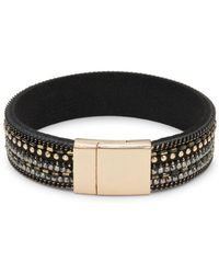 Panacea - Crystal And Leather Band Bracelet - Lyst