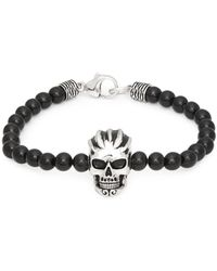Effy - Black Onyx And Sterling Silver Skull Bracelet - Lyst