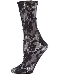 Memoi Allure Floral Lace Slouch Crew Socks