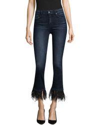 PAIGE - Exclusive Jacqueline Feather-hem Jeans - Lyst