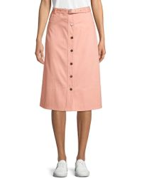7319f4434a Elizabeth and James - Merritt Button Front Midi Skirt - Lyst