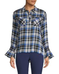 Laundry by Shelli Segal - Plaid Collared Top - Lyst
