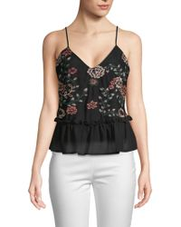 Lea & Viola - Embroidered Mesh Tank Top - Lyst