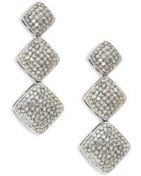 Bavna - Sterling Silver & Diamond Drop Earrings - Lyst