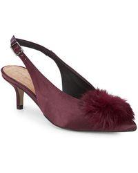 Saks Fifth Avenue - Satin Slingback Faux Fur Kitten Heels - Lyst