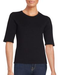 Saks Fifth Avenue Black - Solid Elbow-sleeve Top - Lyst