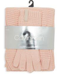 Calvin Klein - 3-piece Waffle Knit Hat Scarf & Touch Glove Set - Lyst