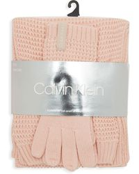 Calvin Klein - Three-piece Waffle Knit Hat Scarf & Touch Glove Set - Lyst