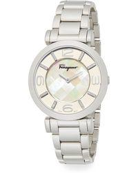 Ferragamo - Gancino Deco Diamond, Mother-of-pearl & Stainless Steel Bracelet Watch - Lyst