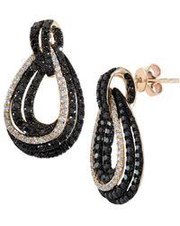 Effy - 14k Yellow Gold Diamond & Black Diamond Loop Earrings - Lyst