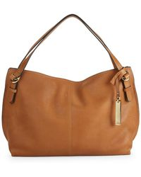Vince Camuto - Pewter Leather Satchel Bag - Lyst