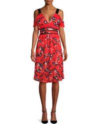 Haute Rogue - Cold-shoulder Floral Dress - Lyst