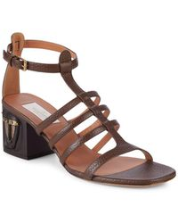 Valentino - Embellished Leather Sandals - Lyst