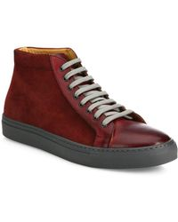 eecd0162073 Saks Fifth Avenue - Collection Mix Media Leather High-top Sneakers - Lyst