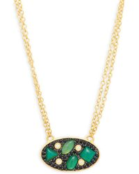 Freida Rothman - Cubic Zirconia, Green Agate And Sterling Silver Pendant Necklace - Lyst
