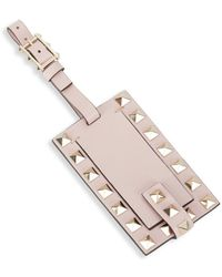 Valentino - Leather Rockstud Luggage Tag - Lyst