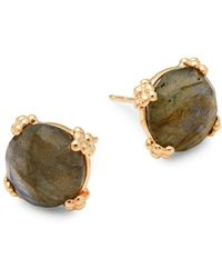 Anzie - Labradorite And 14k Gold Stud Earrings - Lyst