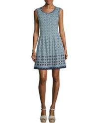 Max Studio - Tile Print Fit-and-flare Dress - Lyst