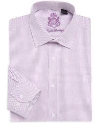 English Laundry - Micro Check Cotton Dress Shirt - Lyst