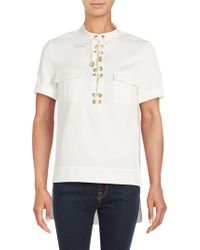 Finders Keepers - Great Heights Lace-up Placket Shirt - Lyst