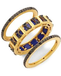 Freida Rothman - Set Of 3 Goldtone Gemstone Stacking Rings - Lyst