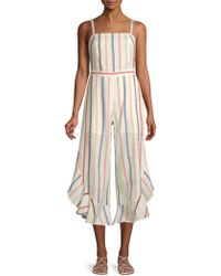 e5e4581c7d61 Red Carter - Everly Striped Ruffle Cotton Jumpsuit - Lyst