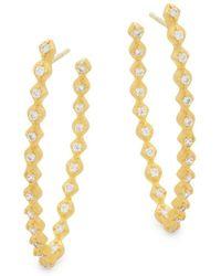 Freida Rothman - Crystal Rope Hoop Earrings - Lyst