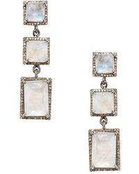 Adornia - Thompson Champagne Diamond, Moonstone And Silver Geometric Drop Earrings, 1.8 Tcw - Lyst