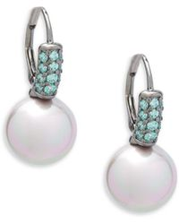 Majorica - Faux Pearl, Crystal And Sterling Silver Drop Earrings - Lyst