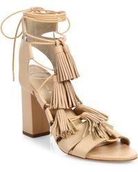 Loeffler Randall - Tasseled Lace-up Leather Sandals - Lyst