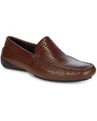 Karl Lagerfeld - Diamond Embossed Leather Loafers - Lyst