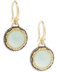 Armenta - Old World White Diamond, Chrysoprase, Moon Quartz & 18k Goldplated Sterling Silver Drop Earrings - Lyst