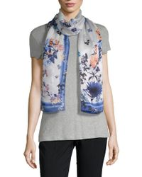 Vince Camuto - Shadow Blossoms Silk Scarf - Lyst