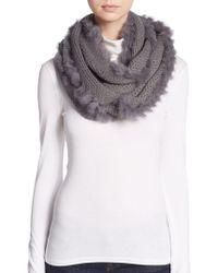 La Fiorentina - Rabbit Fur-trimmed Infinity Scarf - Lyst