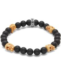 King Baby Studio - Bone & 8mm Beaded Onyx Skull Charm Bracelet - Lyst