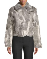 Adrienne Landau - Textured Rabbit Fur Coat - Lyst