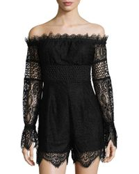 Kendall + Kylie   Off-the-shoulder Lace Romper   Lyst