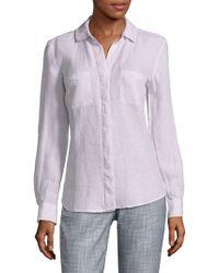 Saks Fifth Avenue - Hi-lo Linen Button-down Shirt - Lyst