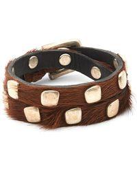 Uno De 50 - Calf Hair Studded Bracelet - Lyst