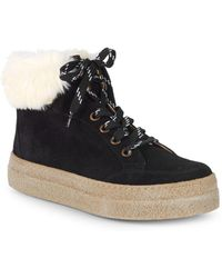 e83a8beee5be Saks Fifth Avenue - Faux Shearling-lined   Suede Platform Trainers - Lyst