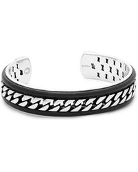 Effy - Leather And Sterling Silver Cuff Bracelet - Lyst