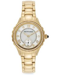 Saks Fifth Avenue - Crystal & Goldtone Stainless Steel Sub-dial Watch - Lyst