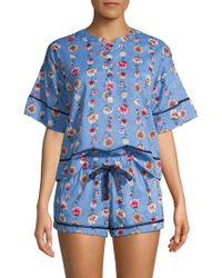 Jane And Bleecker 2-piece Floral Pyjamas - Blue