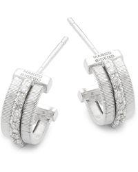 Marco Bicego - Goa Diamond And 18k White Gold Engraved Earrings - Lyst