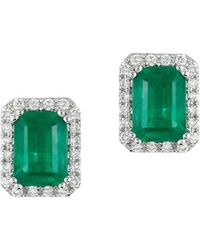 Effy - Brasilica 14 Kt. White Gold Emerald And Diamond Earrings - Lyst