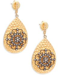 Freida Rothman - Crystal And Sterling Silver Teardrop Earrings - Lyst