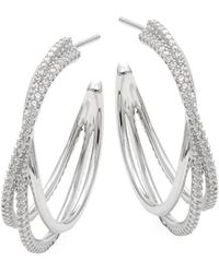Adriana Orsini - Illusion Sterling Silver & Crystal Hoop Earrings - Lyst